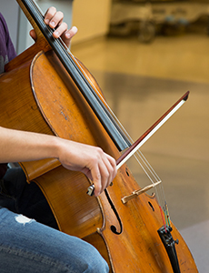 closeup of someone playing a violin